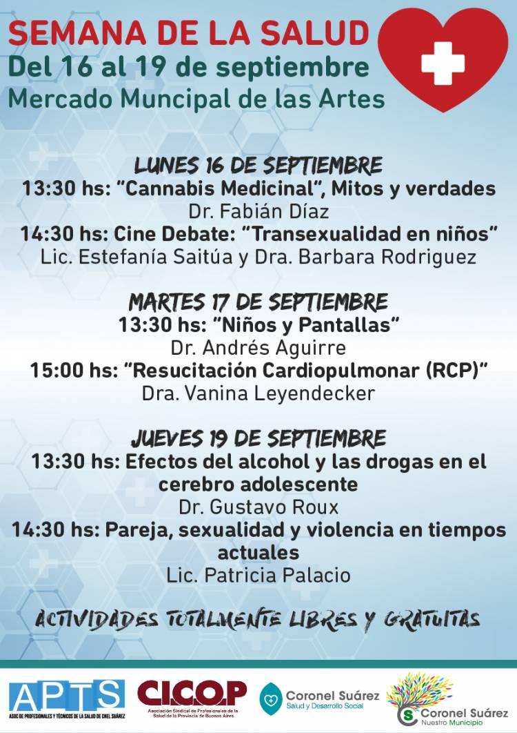 Del 16 al 19 de septiembre: Semana de la Salud en Coronel Suárez