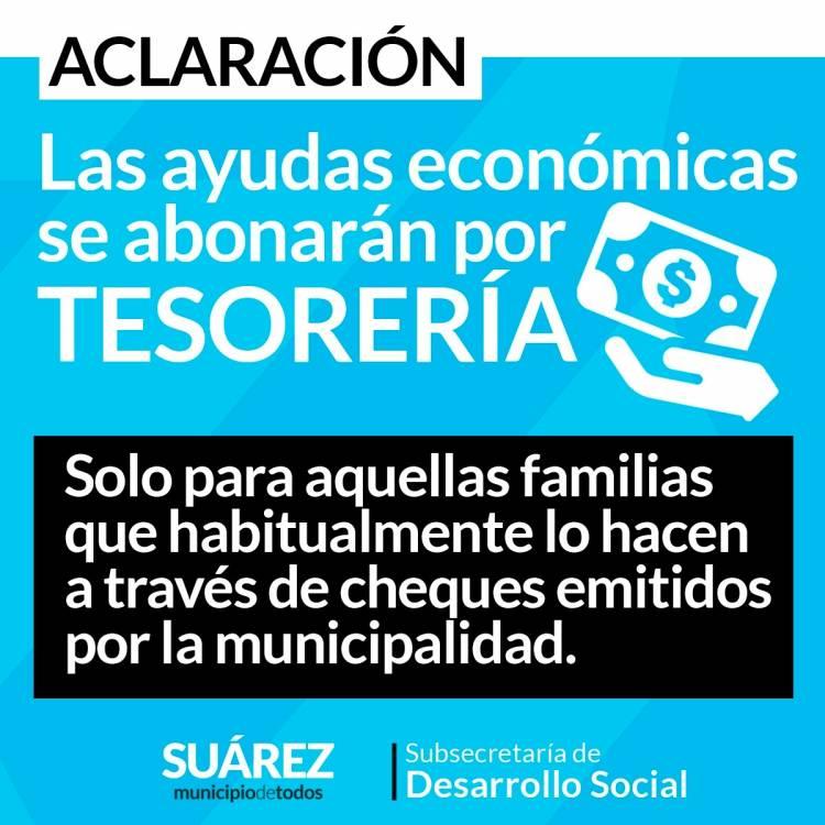 ACLARACIÓN: Solo cobrarán las ayudas económicas por tesorería
