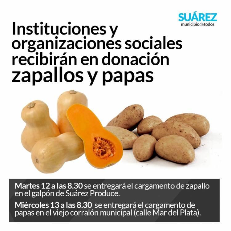 Instituciones y organizaciones sociales recibirán en donación zapallos y papas