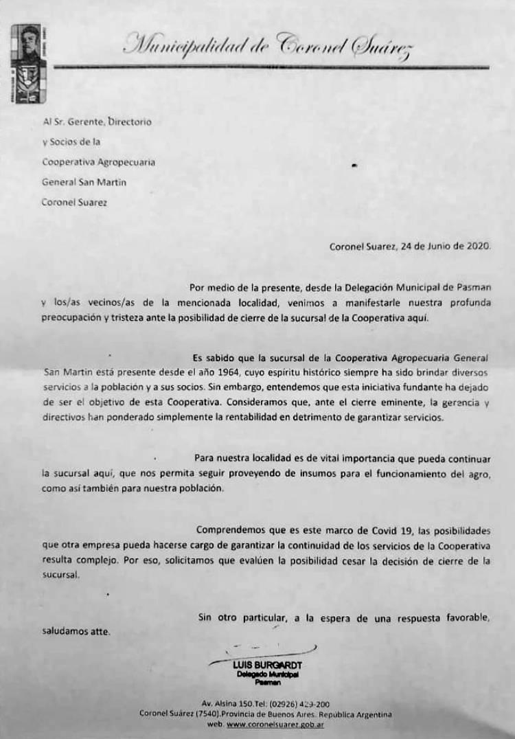 Carta del delegado de Pasman Luis Burgardt ante el posible cierre de la sucursal de la Cooperativa Agropecuaria General San Martín