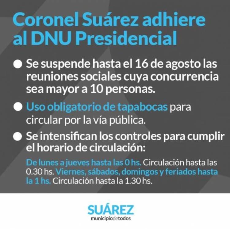 Coronel Suárez adhiere al DNU Presidencial