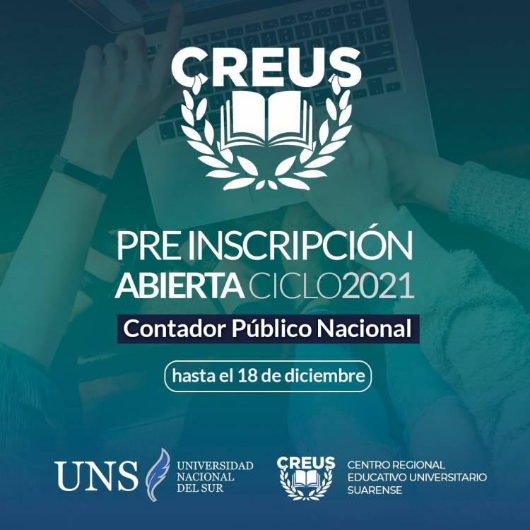 INGRESO 2021 CREUS-UNS - Está abierta la pre-inscripción para la carrera de Contador Público 2021