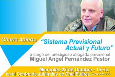 Fernández Pastor brindará una charla abierta para jubilados y público en general