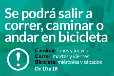 A partir del 14 de mayo se podrá salir a correr, caminar o andar en bicicleta