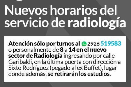 Nuevos horarios del Servicio de Radiología