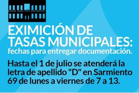 Trámite de eximición de tasas municipales: fechas para entregar documentación