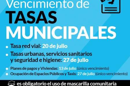 Vencimiento de tasas municipales del mes de JULIO