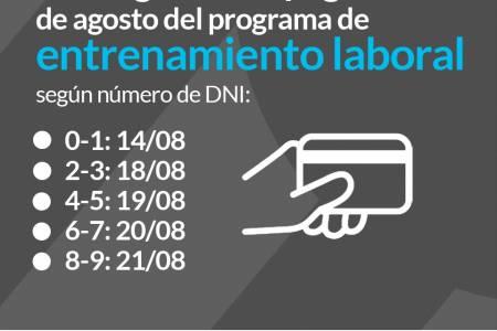 Cronograma de pago del mes de agosto del programa de entrenamiento laboral
