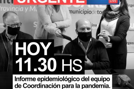 Hoy a las 11.30 el Intendente Municipal junto a médicos hablarán a la población para informar acerca de la situación epidemiológica en el distrito