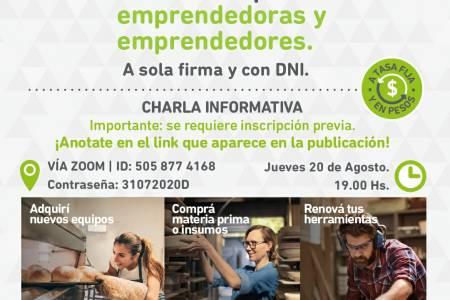 Charla virtual informativa: préstamos para emprendedores y emprendedoras a sola firma y con DNI. Tasa fija y en pesos