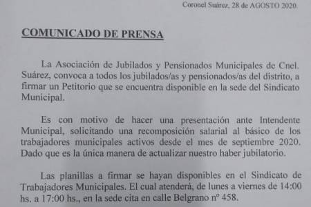 Comunicado de prensa - convocatoria a todos los jubilados/as y pensionados/as del distrito