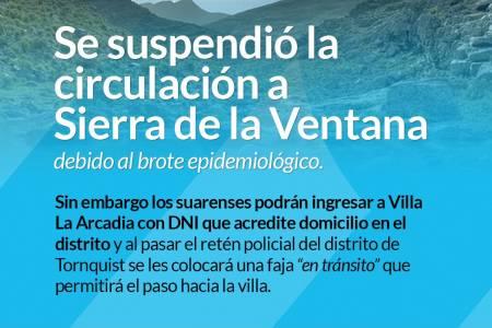 Se suspendió la circulación de suarenses a Sierra de la Ventana