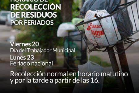Horario de recolección de residuos por feriados