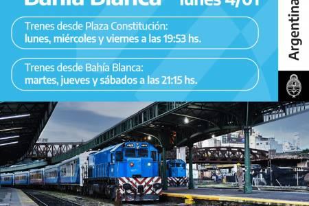 El tren a Bahía Blanca suma dos nuevas frecuencias semanales