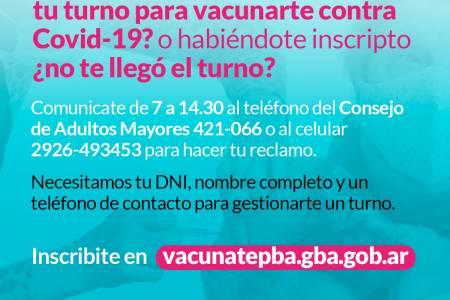 Vacunate Suárez - ¿Tenés más de 60 años y perdiste tu turno para vacunarte contra Covid-19? o habiéndote inscripto no te llegó el turno?