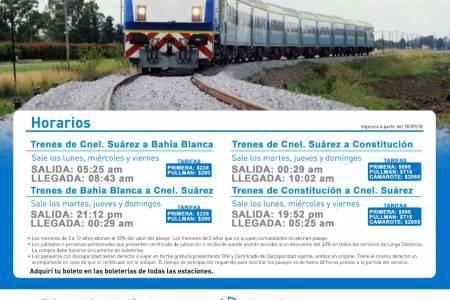 Frecuencias y tarifas para el servicio estatal de Trenes Argentinos que pasa por Coronel Suárez