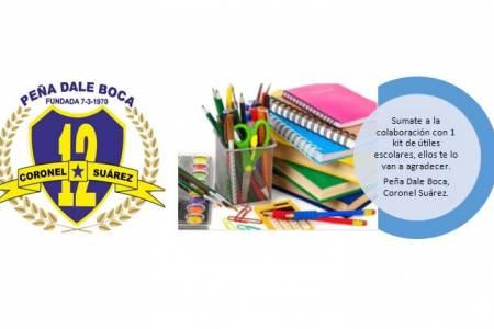 LaPeña Dale Bocarealiza una campaña solidaria de recolección de útiles escolares