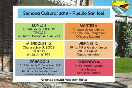 Invitan a participar de la semana cultural de San José