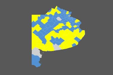 El mapa de la provincia de Buenos Aires: Juntos por el Cambio perdería todos los municipios del conurbano que conquistó en el 2015