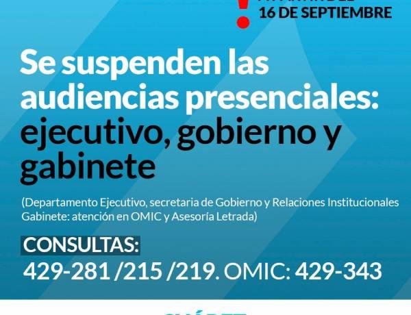 Se suspenden las audiencias presenciales: ejecutivo, gobierno y gabinete