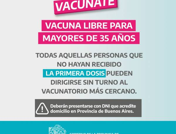 Vacuna libre para mayores de 35 años