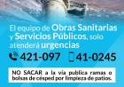 Equipo de Obras Sanitarias y Servicios Públicos solo atenderá urgencias