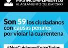 Son 59 los ciudadanos con causas penales por violar la cuarentena