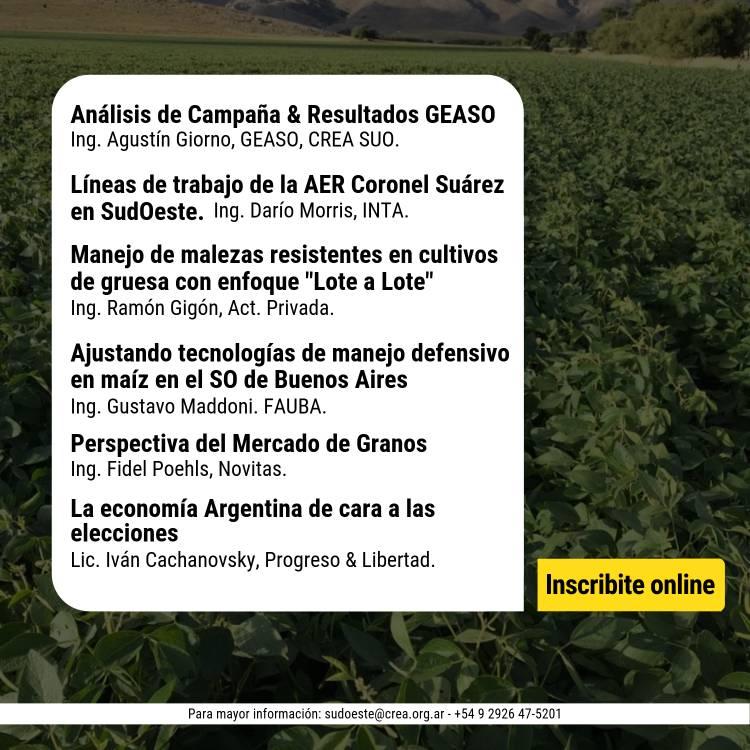 Crea Sudoeste organiza una Jornada Técnica sobre Cultivos de Gruesa