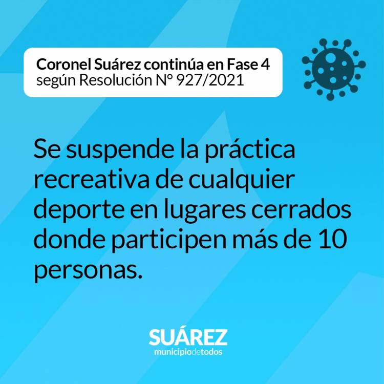 Coronel Suárez continúa en Fase 4 según Resolución N° 927/2021 - Normativa vigente hasta el 30/04/2021