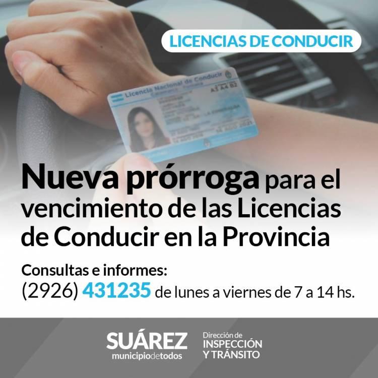 Nueva prórroga para el vencimiento de las Licencias de Conducir en la Provincia