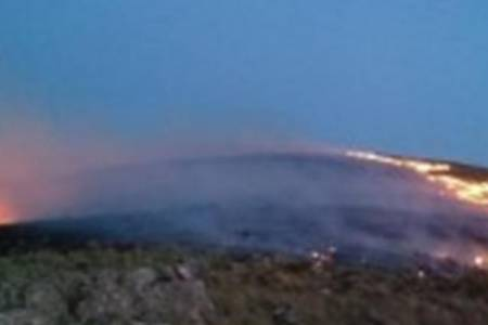 Bomberos de varios distritos trabajan en un incendio en los cerros de La Blanqueada
