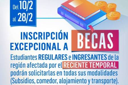 Inscripción excepcional a becas para estudiantes de la zona afectada por el temporal