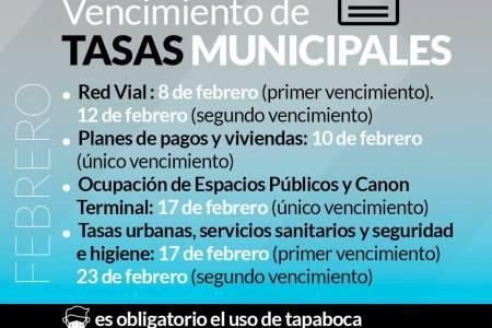 Vencimiento de tasas municipales del mes de febrero