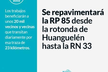Se repavimentará la RP 85 desde la rotonda de Huanguelén hasta la RN 33