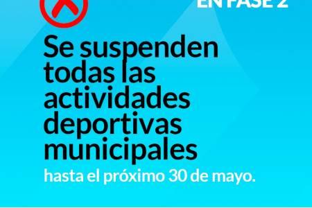 Dirección de Deportes: Se suspenden todas las actividades deportivas municipales