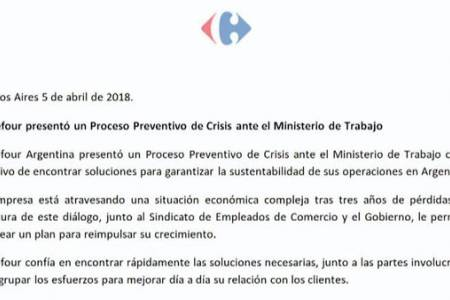 Carrefour presentó un proceso preventivo de crisis